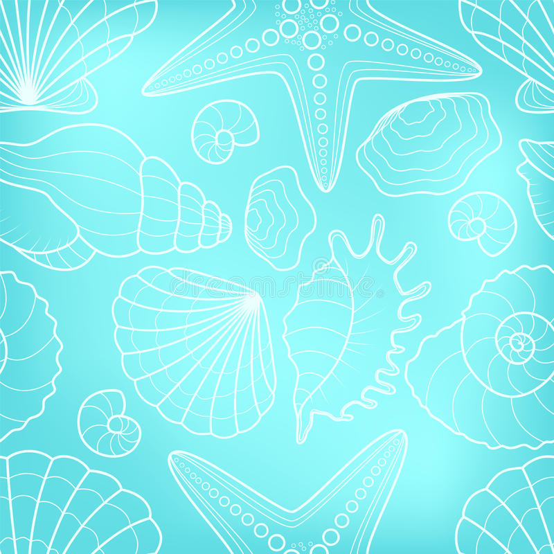 Seamless background with starfish and seashells. Pattern can be used for wallpaper, pattern fills, web page background,surface textures,decoration , fill royalty free illustration
