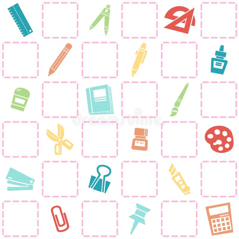Seamless background of stationery pattern. colorful school theme. stock image