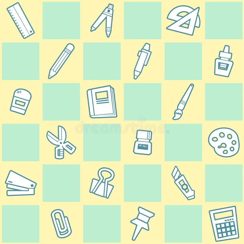 Seamless background of stationery pattern. School theme in Green and yellow. stock image