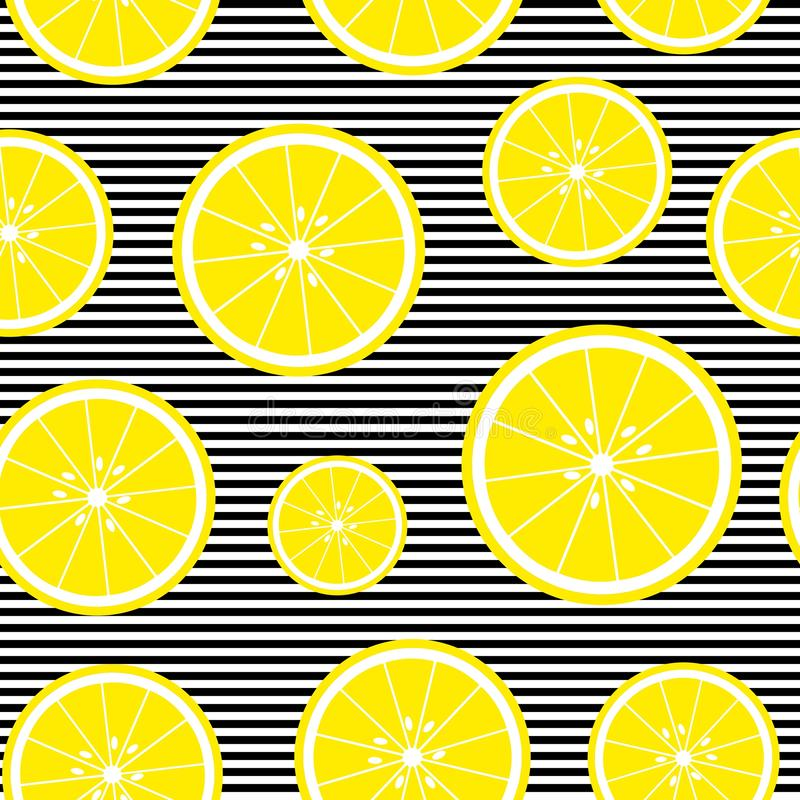 Seamless background with with stripes and lemon slices. Vector illustration design for greeting card or template stock illustration