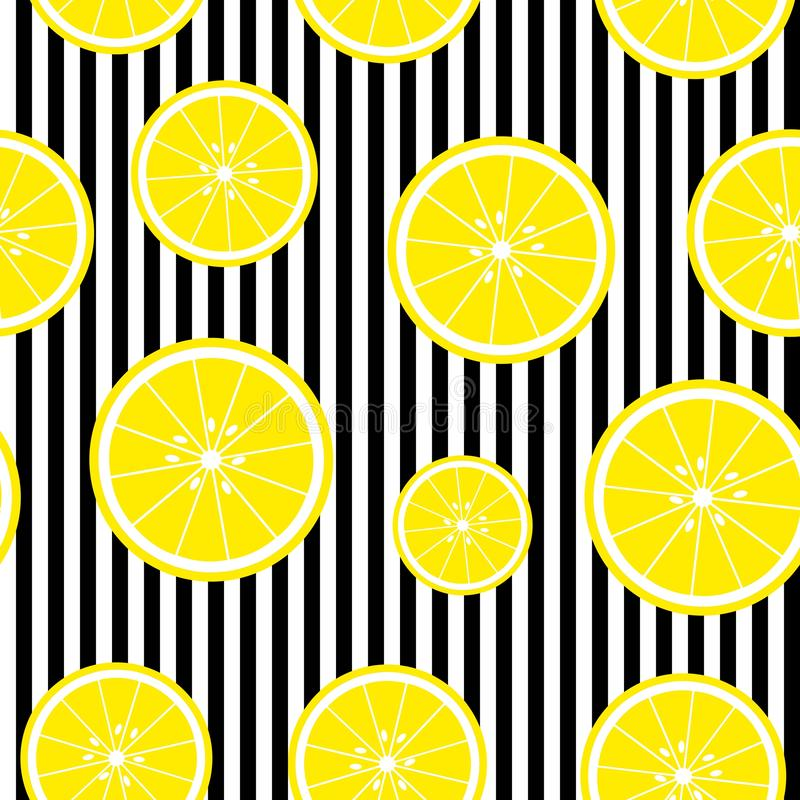 Seamless background with with stripes and lemon slices. Vector illustration design for greeting card or template royalty free illustration