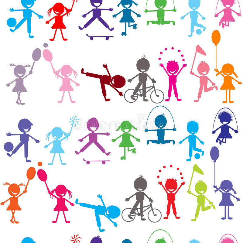 Seamless background with stylized colored kids playing stock illustration