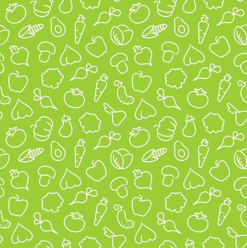Seamless pattern with contours of vegetables royalty free illustration