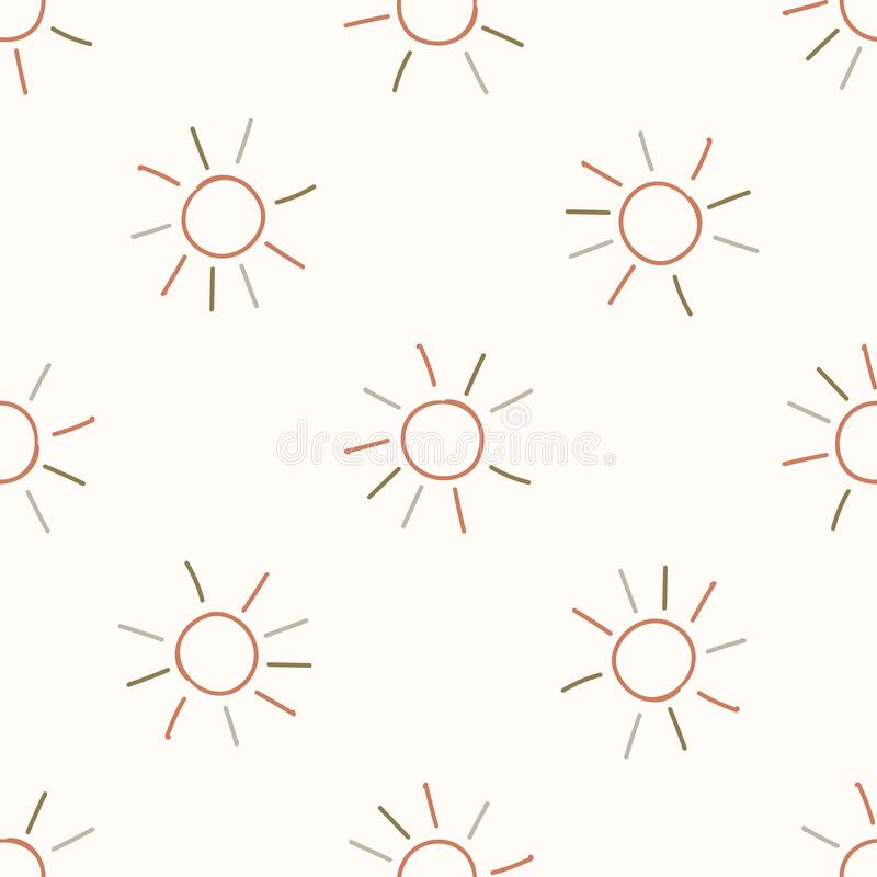 Free Seamless Background Sun In Sky Gender Neutral Baby Pattern. Simple Whimsical Minimal Earthy 2 Tone Color. Kids Nursery Stock Image - 188298891