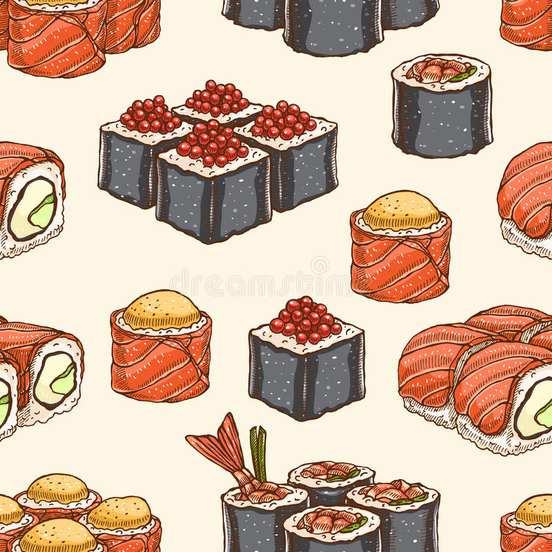 Seamless background with sushi vector illustration