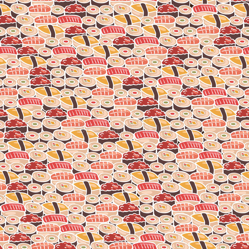 Seamless background with sushi. Seamless background with different sushi, vector illustration royalty free illustration