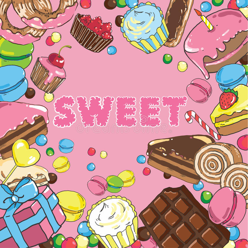 Seamless background with sweets. Seamless background with delicious sweets stock illustration