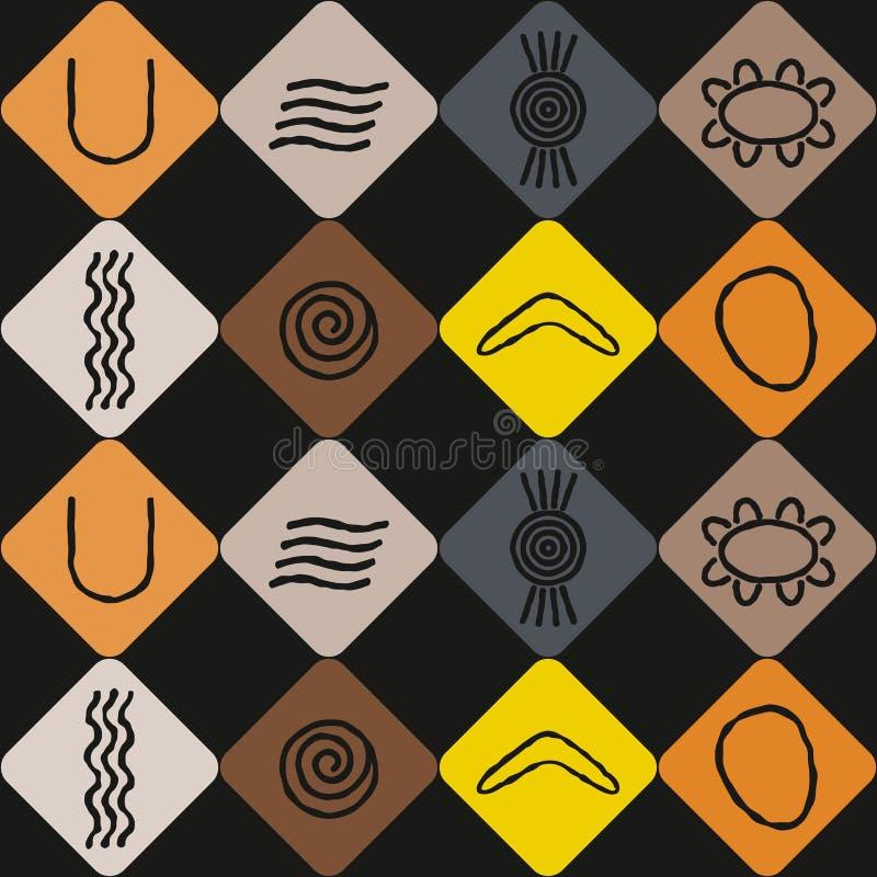 Seamless Background With Symbols Of Australian Aboriginal Art Stock