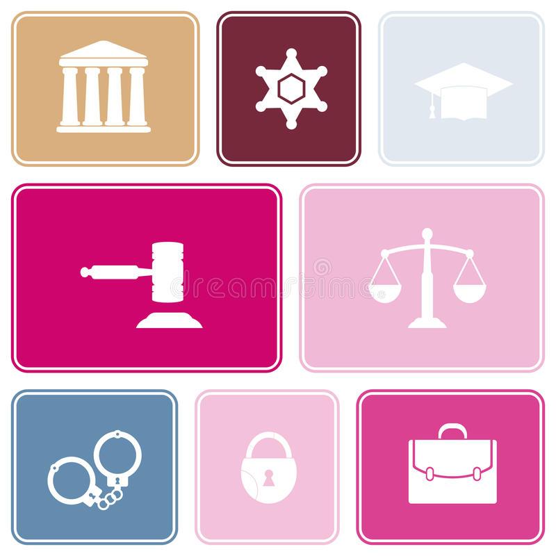 Seamless background with symbols of law and courts. For your design stock illustration