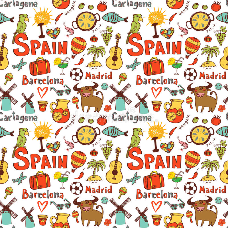 Seamless Background With Symbols Of Spain Stock Vector