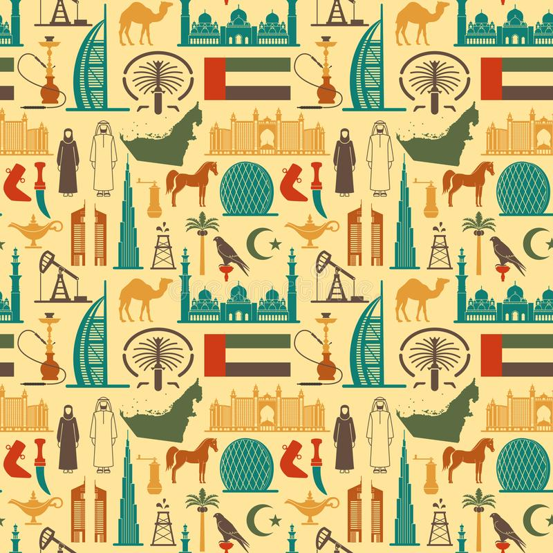 Seamless background with symbols of the United Arab Emirates royalty free illustration