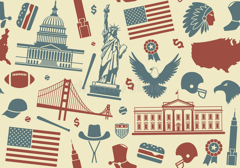 Seamless background with symbols of the USA. Seamless background with traditional symbols of architecture and culture of the USA royalty free illustration