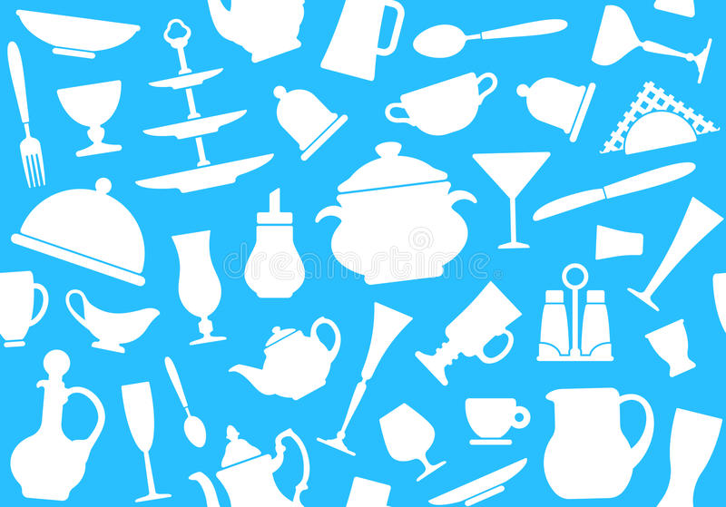 Seamless background of tableware stock illustration