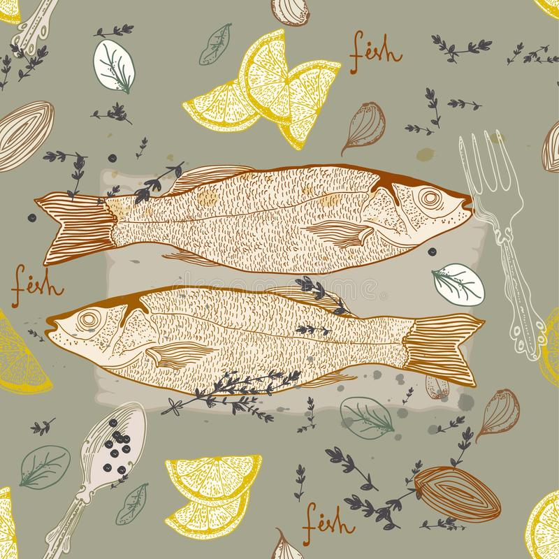 Download Seamless Background With Fish Dish Stock Vector - Illustration of marine, cafe: 30045695