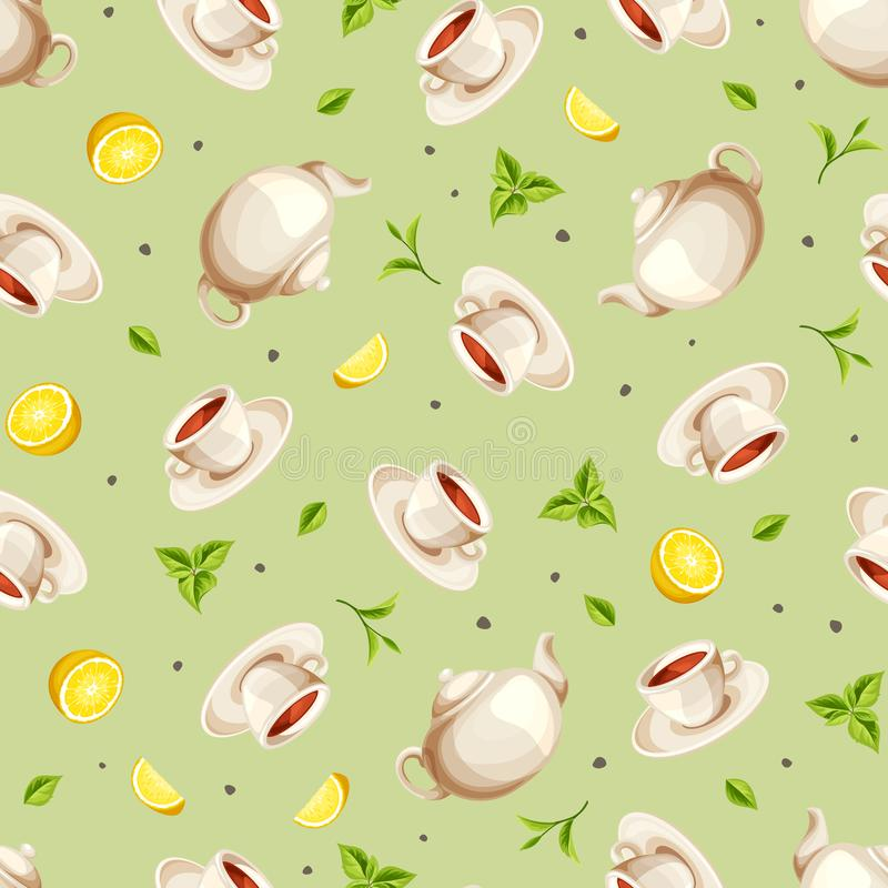 Seamless background with teapots, cups of tea, lemons and tea leaves. Vector illustration. Vector seamless pattern with teapots, cups of tea, lemons and tea royalty free illustration