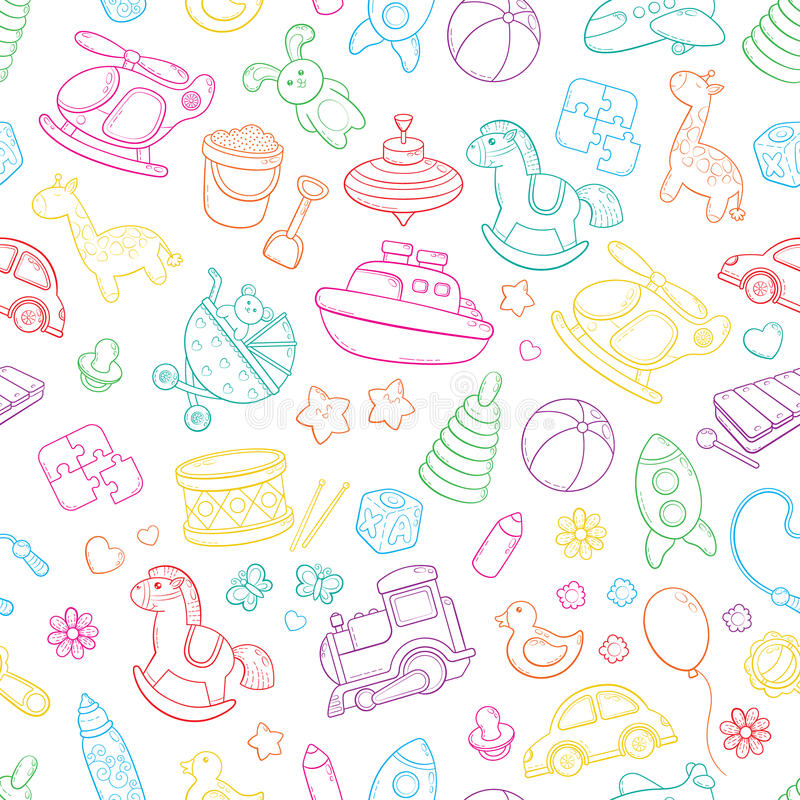 Download Seamless Background Texture Backdrop Pattern Wallpaper With Children Cartoon Doodle Toys