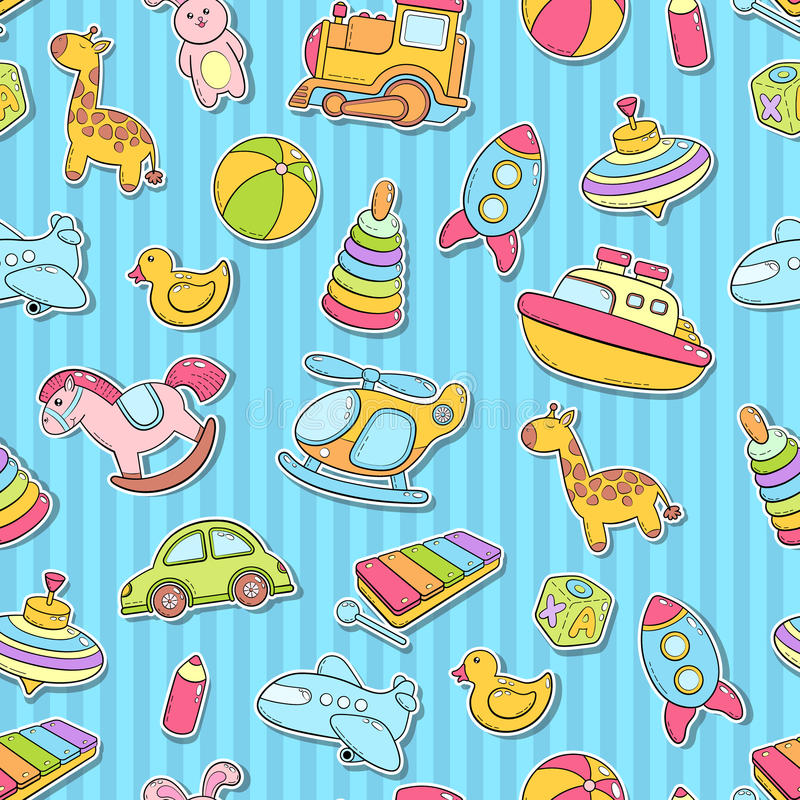 Seamless background, texture, backdrop, pattern, wallpaper with children cartoon doodle toys. Educational games for kids royalty free illustration