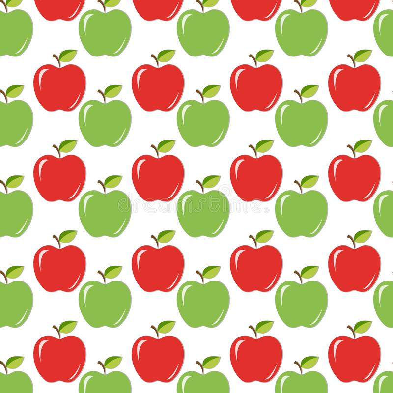 Juicy ripe apples with leaves backgound royalty free illustration