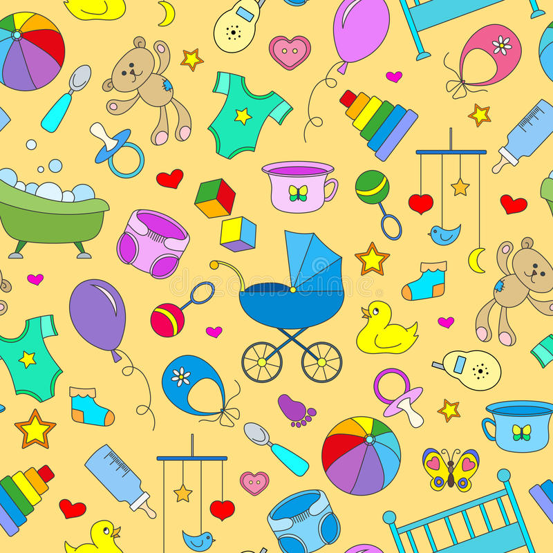 Seamless background on the theme of childhood and newborn babies, baby accessories, accessories and toys, simple color icons on ye stock illustration