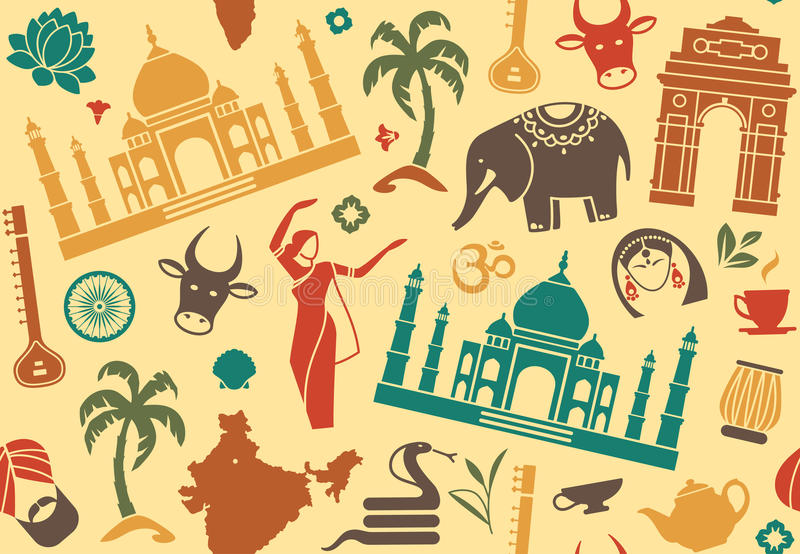 Seamless background on a theme of India stock illustration