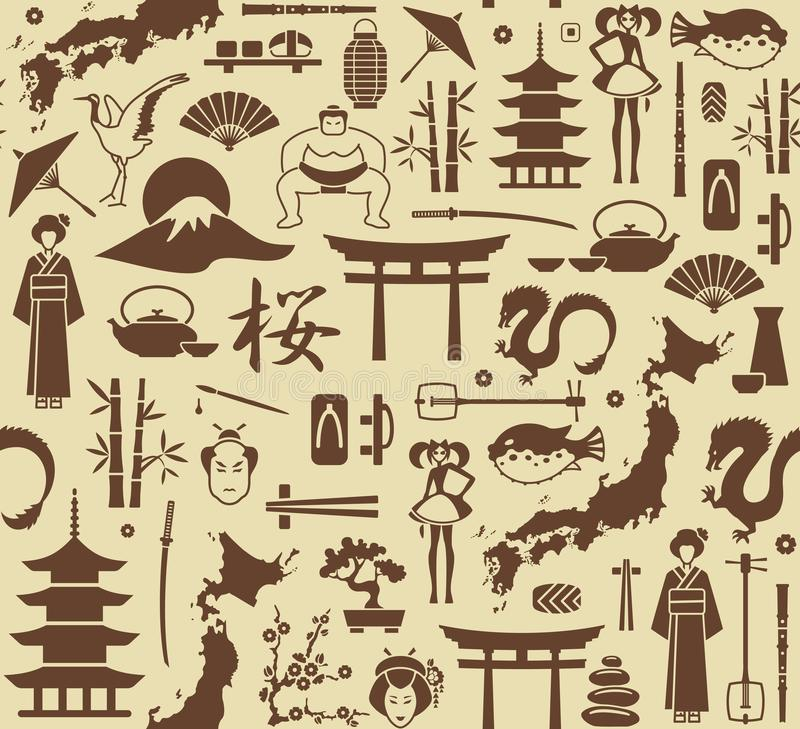 Seamless background on a theme of Japan royalty free illustration