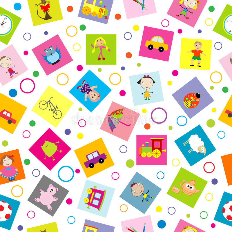 Seamless background with toys and cartoon kids. Over white stock illustration