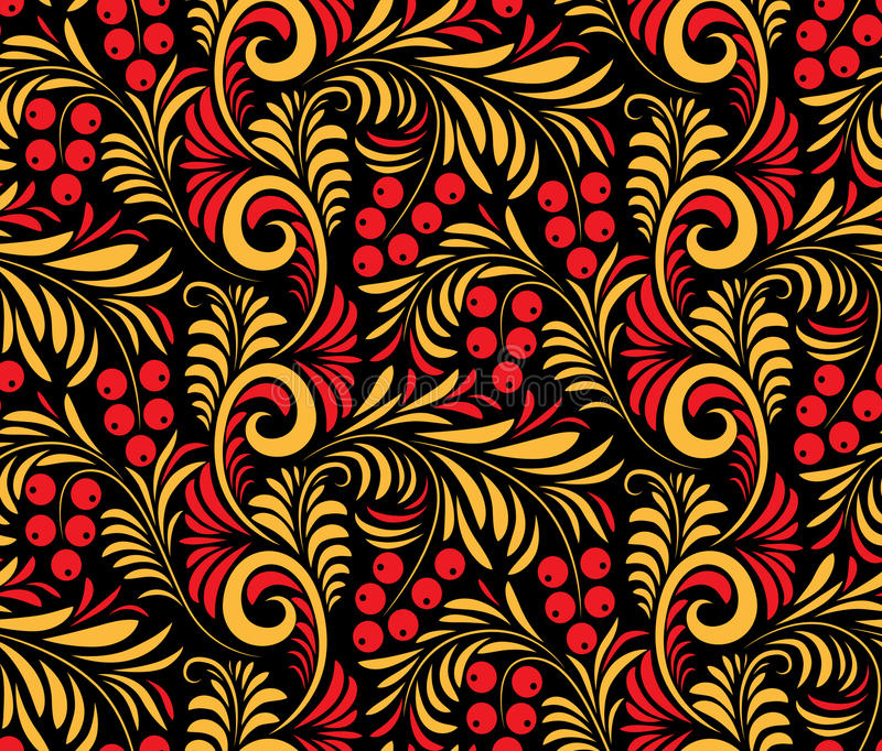 Seamless background of traditional Russian folk painting. vector illustration