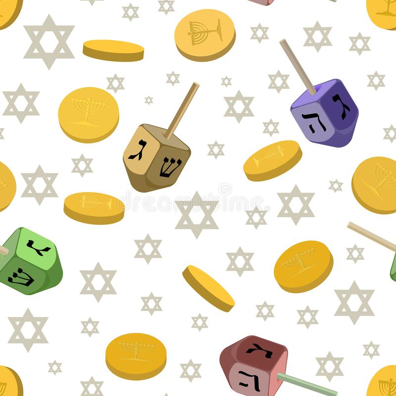 Seamless background with traditional symbols of Hanukkah. royalty free illustration