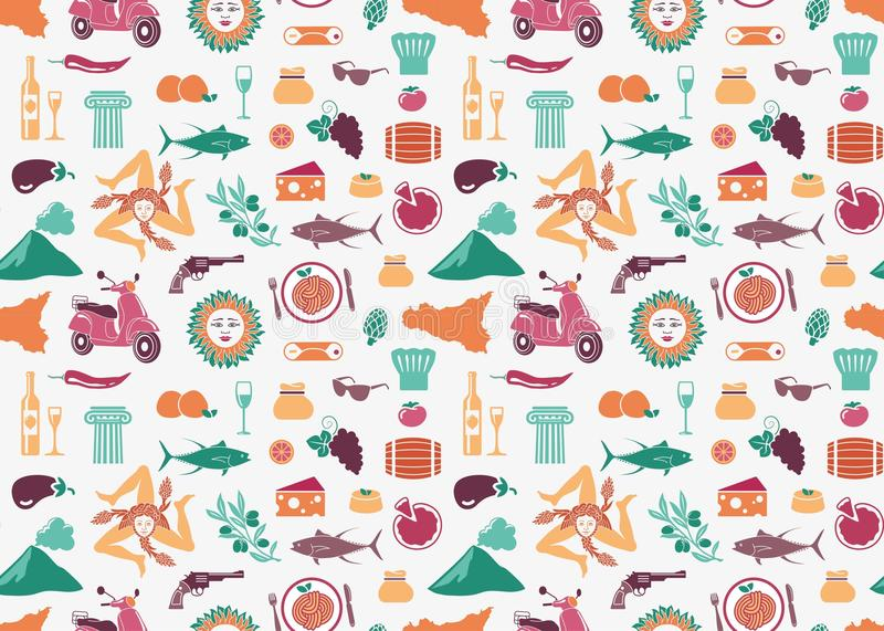 Seamless background with traditional symbols of Sicily stock illustration