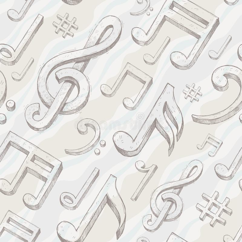Seamless background with treble clef and notes royalty free illustration