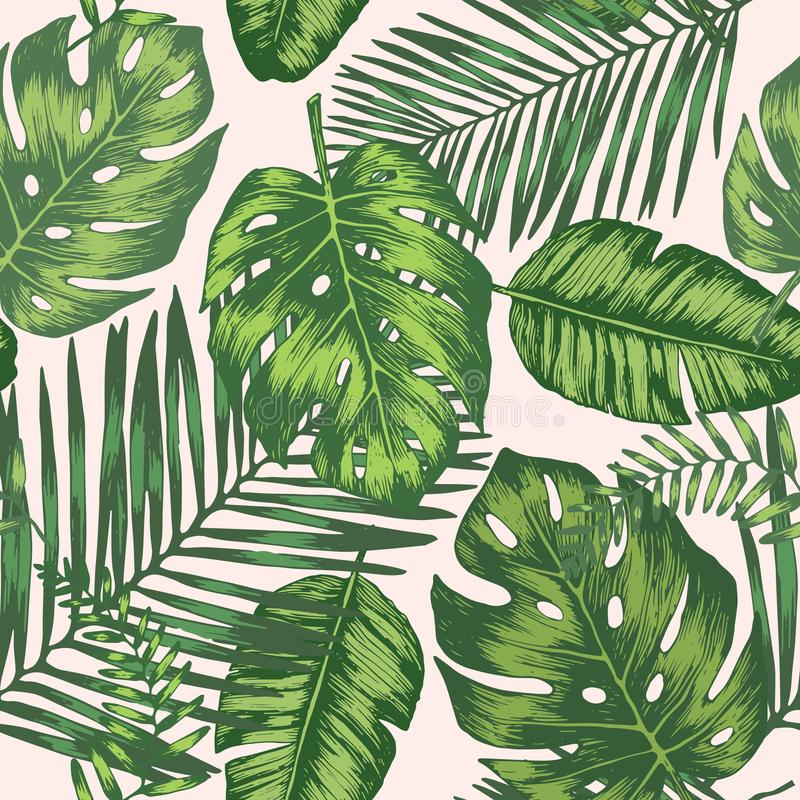 Seamless background with tropic leaves stock illustration