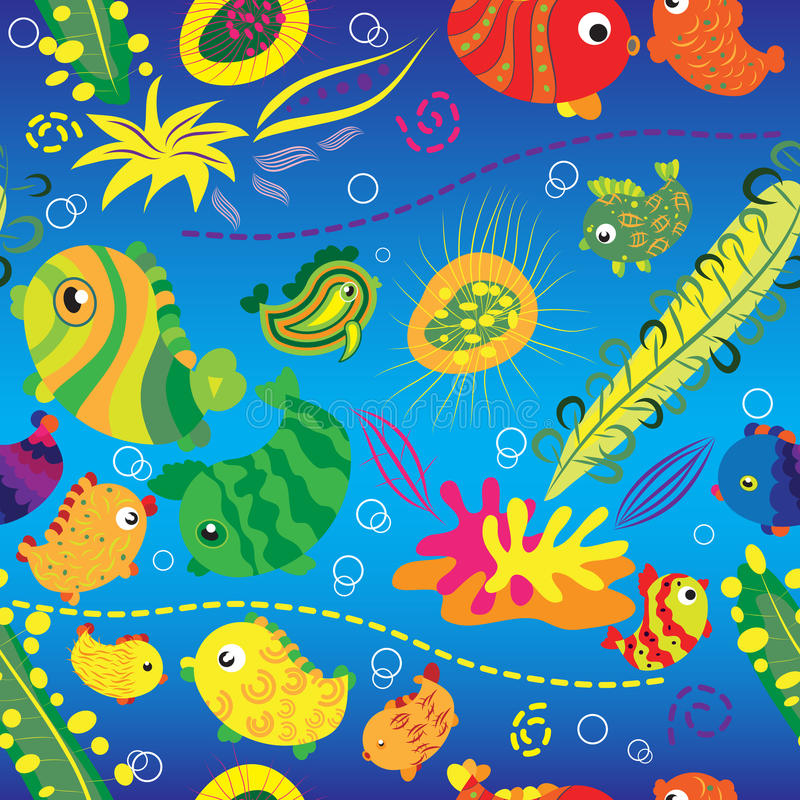 Seamless background with tropical fish royalty free illustration