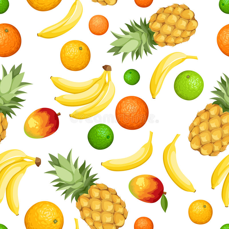 Seamless background with tropical fruits. Vector illustration. Vector seamless background with pineapples, bananas, oranges, limes and mango on white royalty free illustration