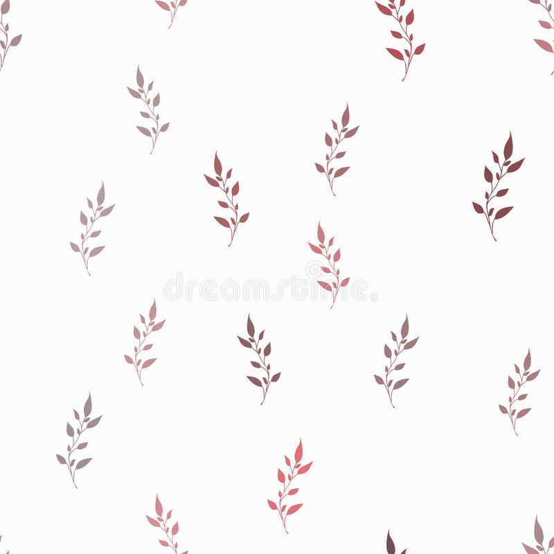 Seamless background of twigs with leaves. Delicate red color seamless texture. stock illustration