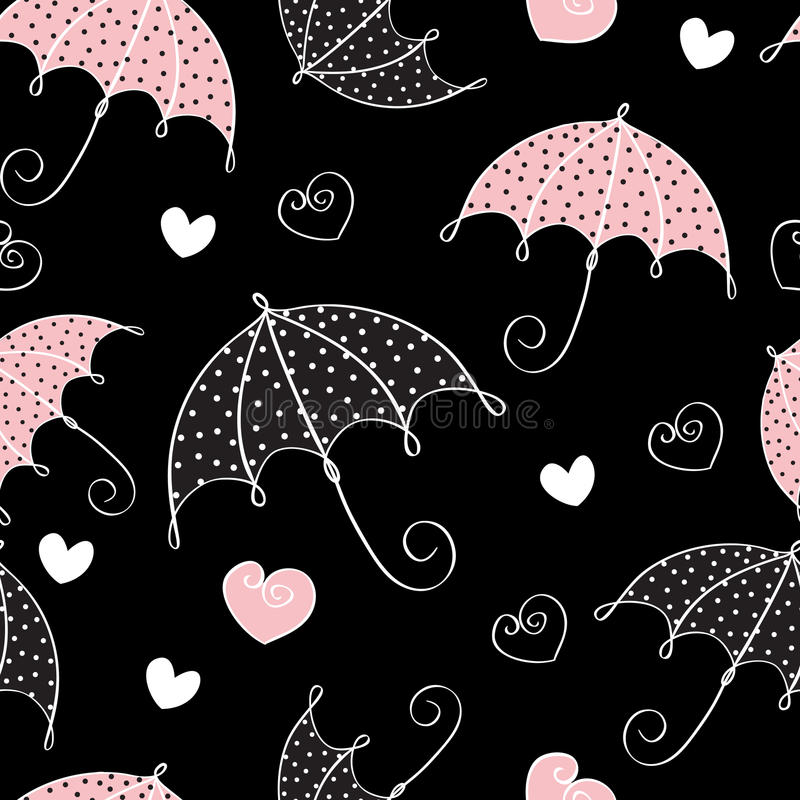 Seamless background with umbrella and hearts vector illustration