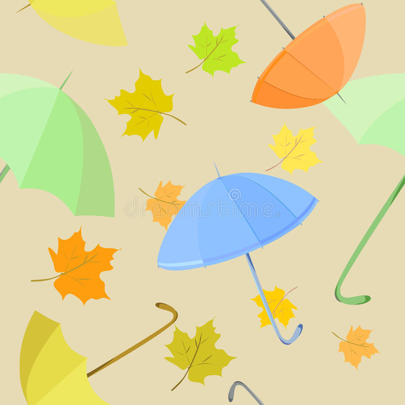 Seamless background with umbrella and leaves royalty free stock images