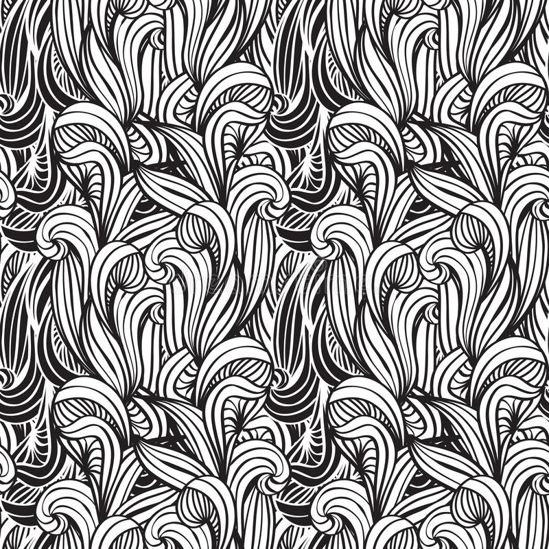 Seamless background with unreal plants. Monochrome seamless floral background with unreal plants vector illustration
