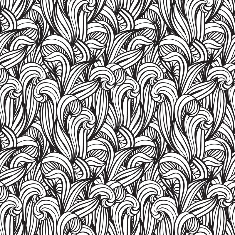 Seamless background with unreal plants. Monochrome seamless floral background with unreal plants royalty free illustration
