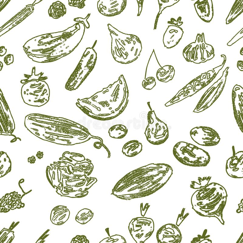 Seamless background of various fruit and vegetables royalty free illustration