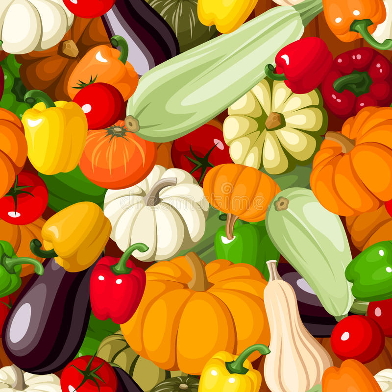 Seamless background with various vegetables. Seamless background with pumpkins, tomatoes, peppers, marrows and eggplants royalty free illustration