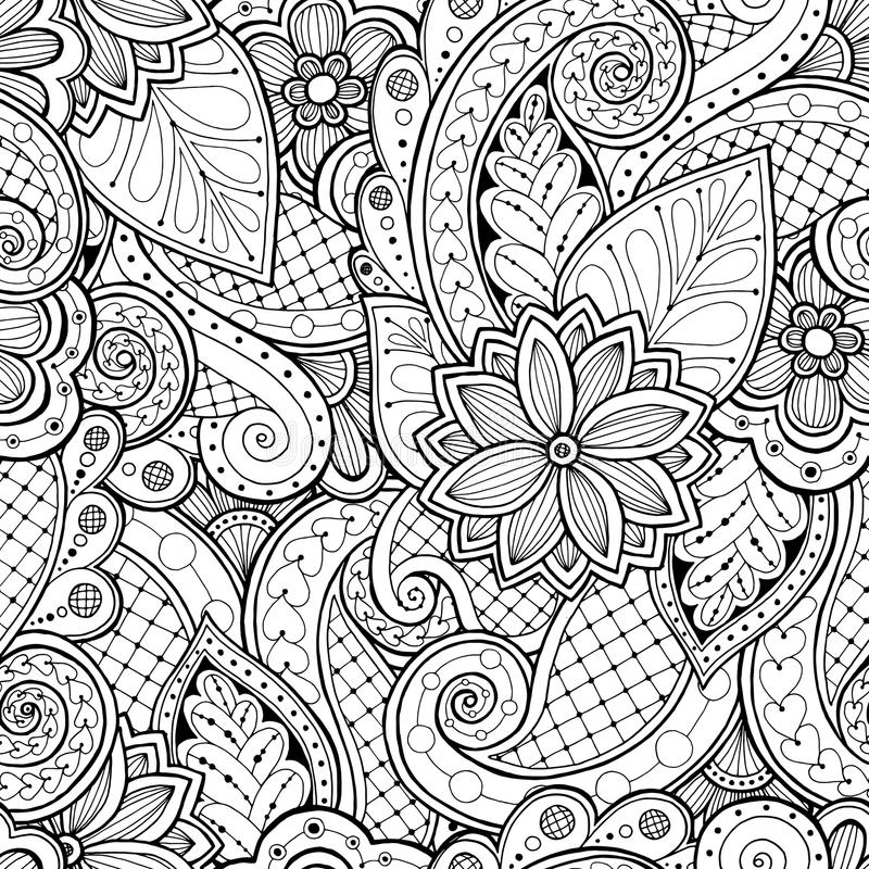 Seamless background in vector with doodles, flowers and paisley. stock photo