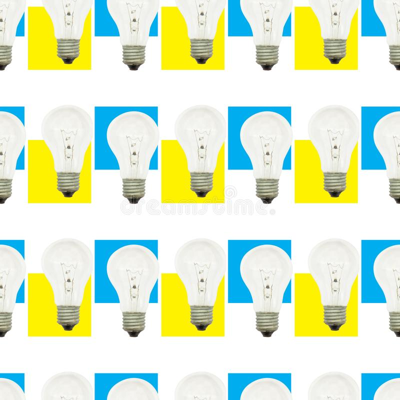 Seamless background of vintage light bulbs. Seamless abstract background of vintage light bulbs, idea, glass, bright, electricity, design, lamp, energy, concept stock photos