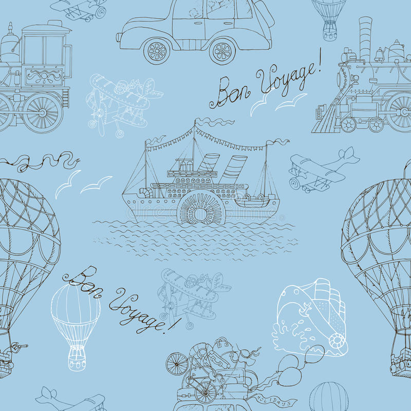Seamless background with vintage travel theme. Seamless background with old transport: steam vessel, hot air balloon, retro car and vintage locomotive. Doodle stock illustration