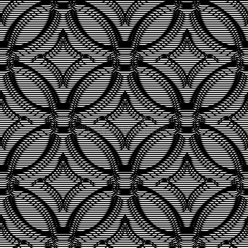 Seamless background volumetric pattern from lines. Monochrome optical illusion art. royalty free illustration