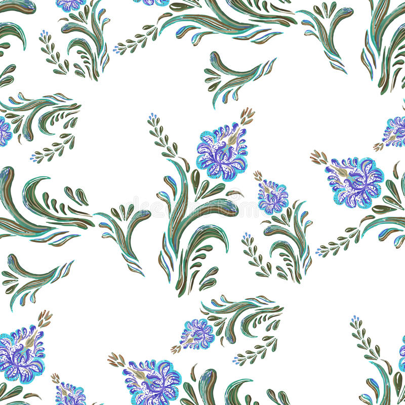 Seamless background of watercolor blue flowers vector illustration