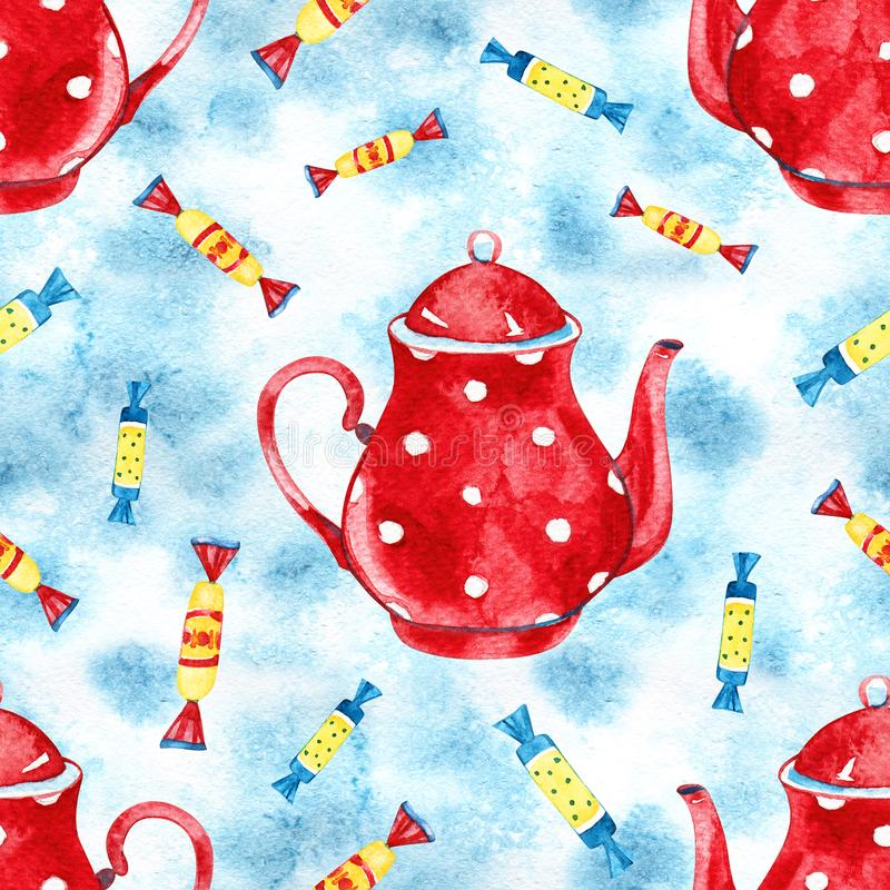Seamless background with watercolor candies. Sweet pattern. royalty free stock images