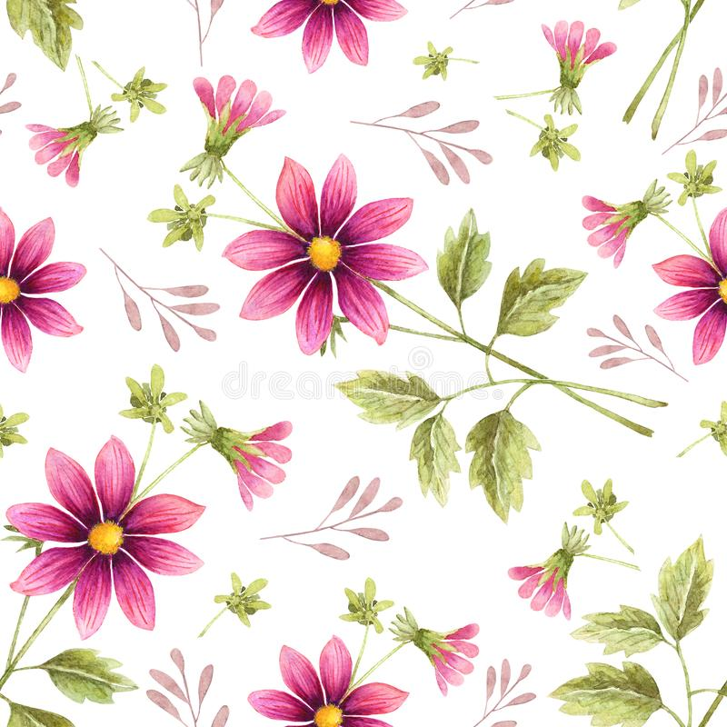 Seamless background of watercolor drawings of red flowers royalty free stock photo