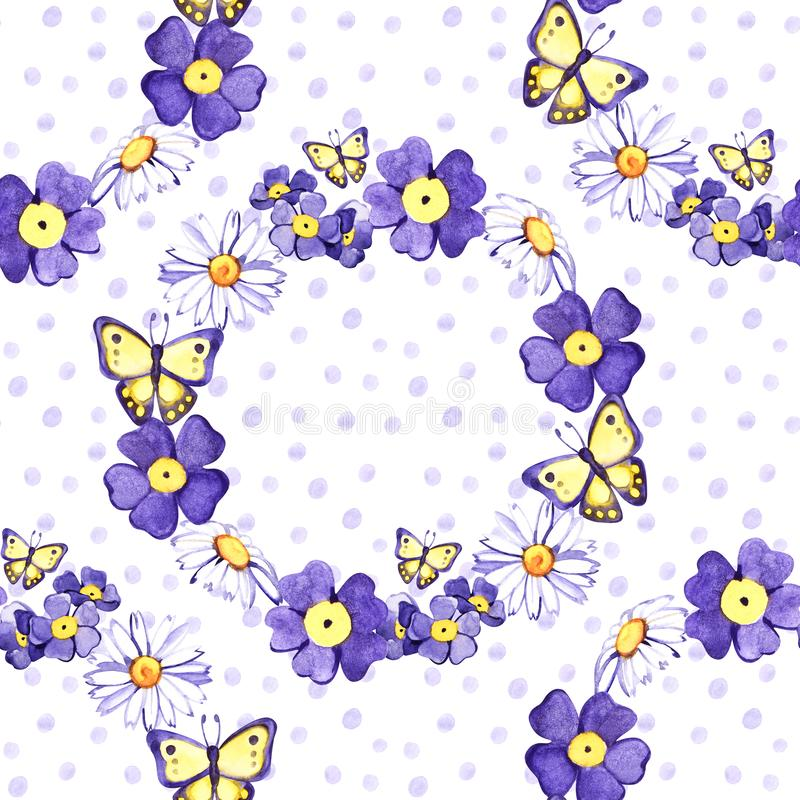 Seamless background with watercolor forget-me-not. Beautiful pattern. Summer, cute, sky blue little flowers. Hand royalty free illustration
