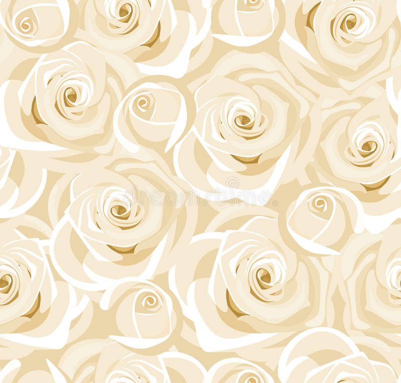 Download Seamless Background With White Roses And Buds. Stock Vector - Image: 28990424