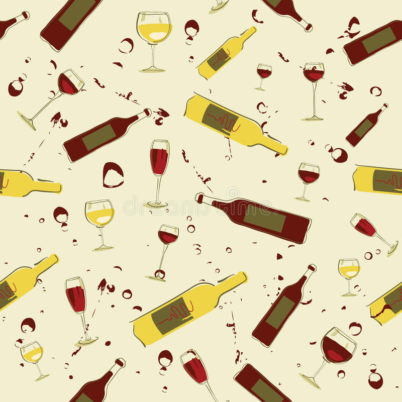 Free Seamless Background Wine Bottles And Glass Of Wine Stock Photos - 10999493